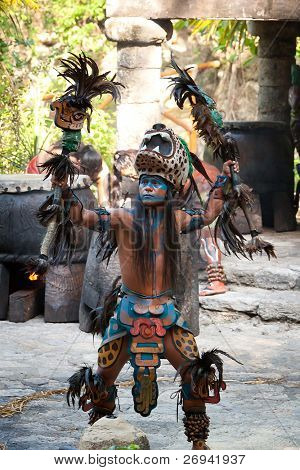 "XCARET, MEXICO - JULY 19: Pre-Hispanic Mayan performance called ""Dance of the Owl"" in the jungle at ancient Mayan Village on July 19, 2011 in Xcaret, Riviera Maya, Mexico"