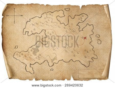 treasure medieval map isolated 3d