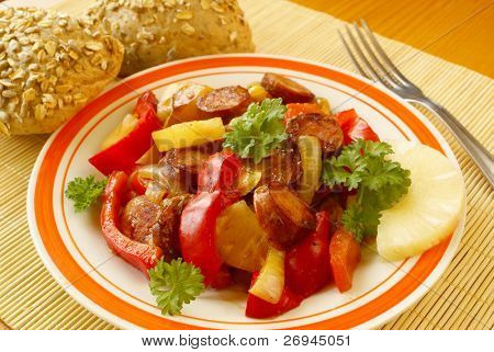 Polish kielbasa with bell pepper, pineapple, tomatoes
