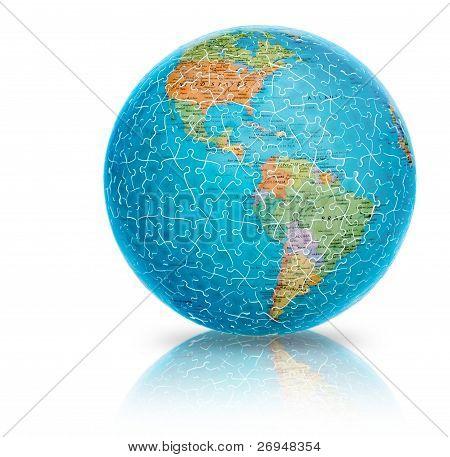 Ilustração puzzle globo do terra América isolada no branco