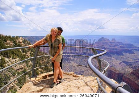 Tourists in Grand Canyon, North Rim