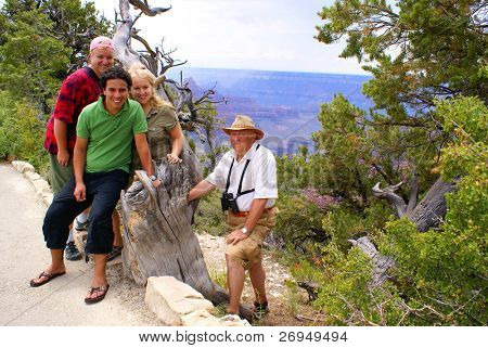 Multi-ethnic tourist family in Grand Canyon National Park - North Rim