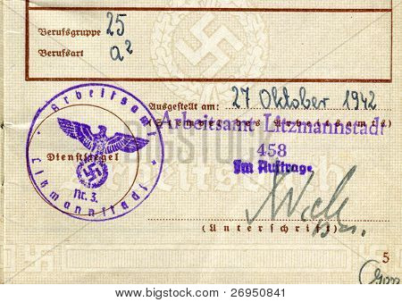 Work permit - Nazi occupation in Poland - stamp