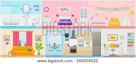 poster of Room Interiors. Vector. Living Room, Bedroom, Bathroom, Nursery, Kitchen, Workplace In Flat Design.