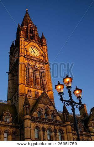 Town Hall in Manchester, UK, at sunset