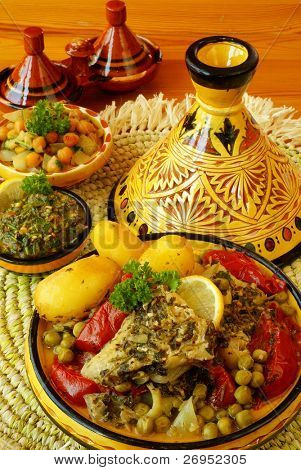 Marokkanische Chermoula Fisch tajine