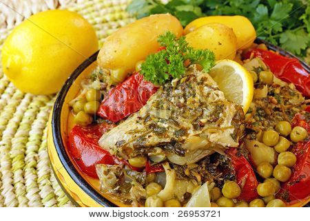 Moroccan fish chermoula tagine