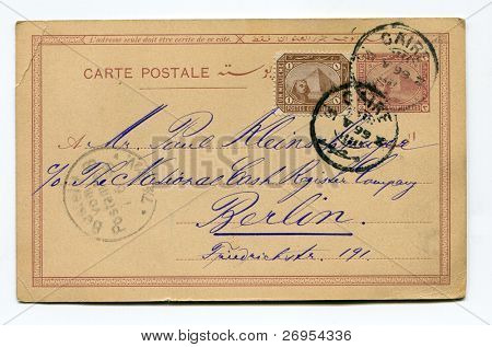 EGYPT - CIRCA 1899 - vintage postcard sent in 1899 from Cairo to Berlin, with one stamp (3 milliemes) imprinted on it and the second one (1 millieme)  added -Egypt circa 1899