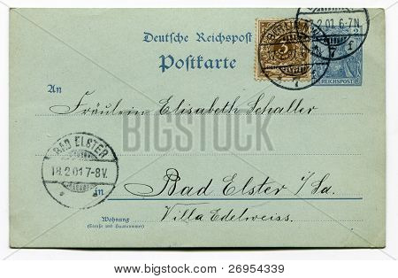 GERMANY - CIRCA 1901 - vintage postcard sent in 1901 from Berlin to Bad Elster, with one stamp (2 pfennigs) imprinted on it and the second one (3 pfennigs)  added - Germany circa 1901