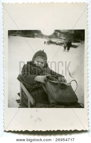 Vintage unretouched photo of young girl