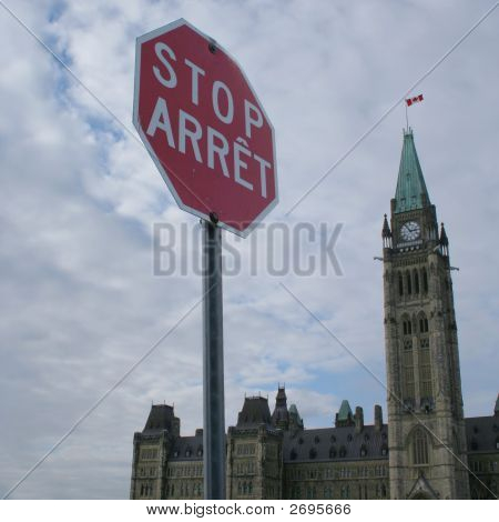 Stop Sign And Canadian Parliament