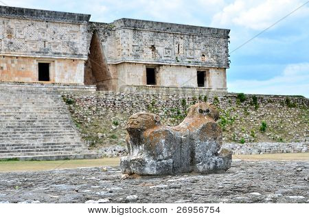 Mayan ruins in Uxmal, Mexico - Jaguar Throne