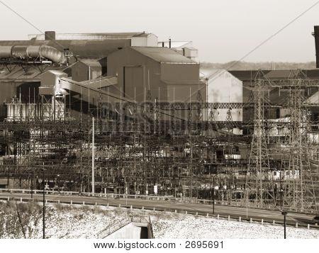 Steel Mill In Sepia