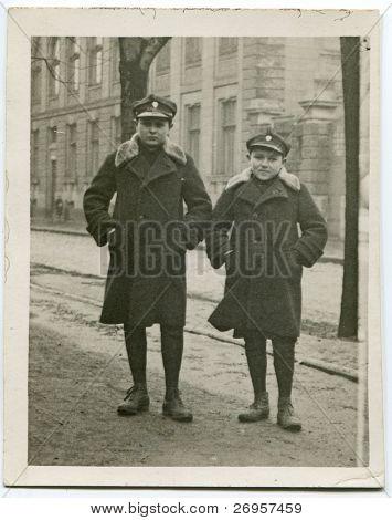 Vintage photo of schoolboys in uniforms (twenties)