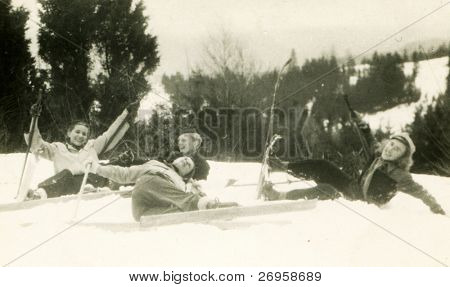 Vintage photo of family skying (forties)