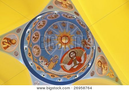 Aswan, Egypt - Archangel Michael's Coptic Orthodox Cathedral - plafond
