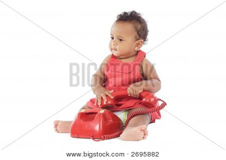 Baby With Red Phone