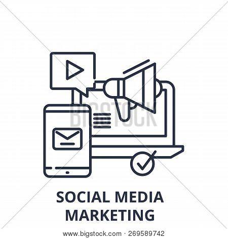 Social Media Marketing Line Icon