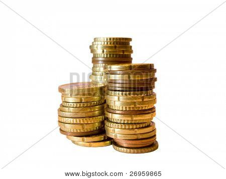 A pile of euro coins isolated against white background