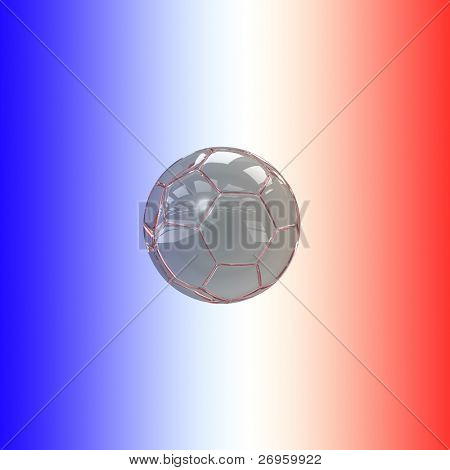 An illustration of a glass soccer ball with the french flag's colors.