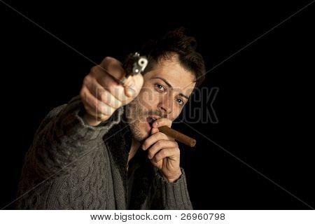 Mafia Man Smoking Cigar With Handgun