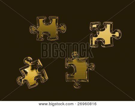 Golden puzzle pieces on black