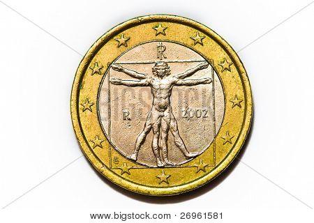 Moneda de un euro aislado en blanco - trasera