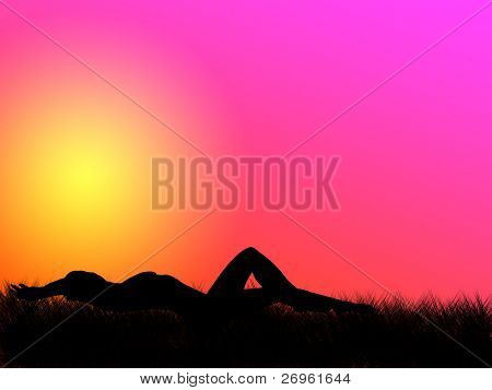 Nude woman lying on the grass in the sunset