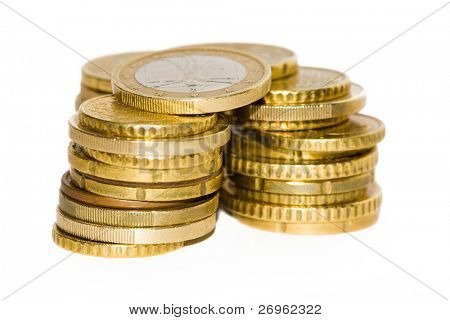 A pile of euro coins isolated on white