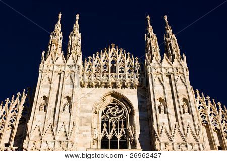 Milan cathedral dome isolated on black