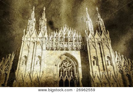 Milan cathedral dome - old looking printing