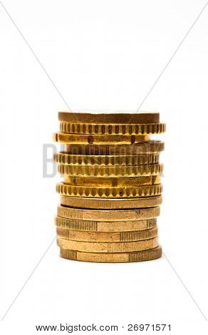 Pile of euro coin isolated on white