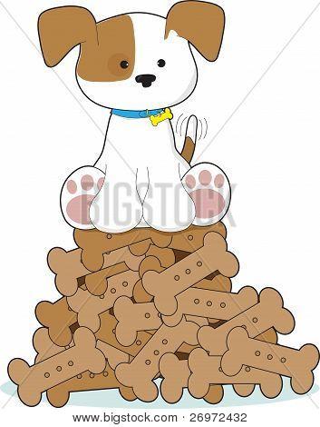 Cute Puppy And Bones