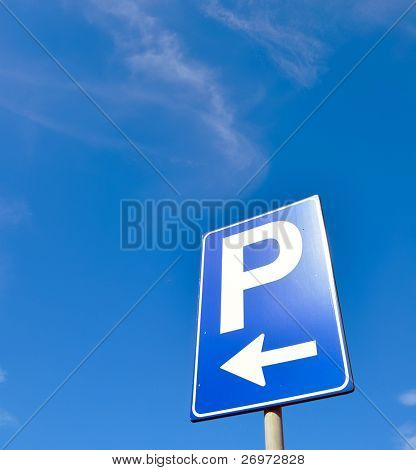 Parking symbol on a blue sky