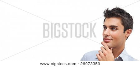 Thoughtful handsome man portrait isolated on white banner