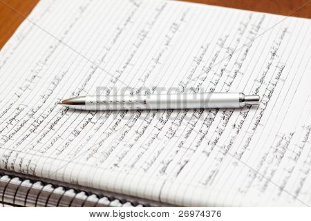 Silver pen lying on a notebook