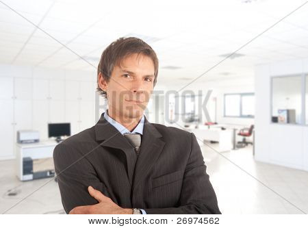 Portrait of a satisfied, mature businessman in an office environment