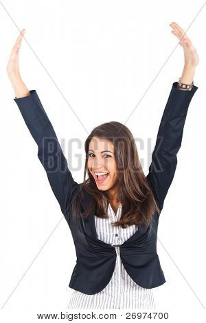 Portrait of an excited young businesswoman celebrating her victory isolated over white