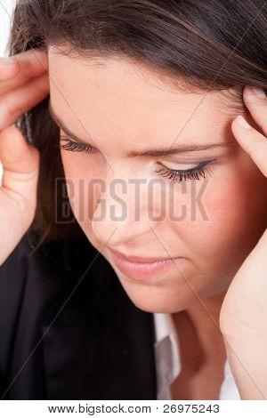 Young pretty woman having headache