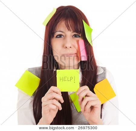 Businesswoman getting mad covered with sticky notes and asking for help