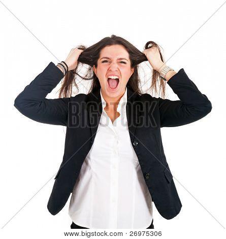 Retrato de una empresaria joven desesperada tirando de su pelo