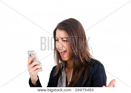 Angry young business woman yelling at her phone isolated over white