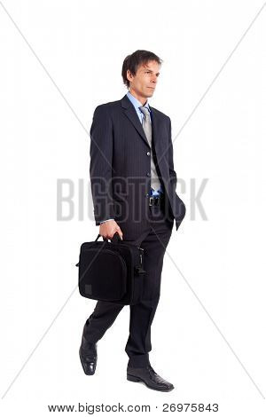 Senior businessman full length portrait isolated on white