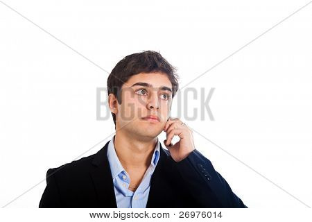 Young handsome businessman talking at the cell phone