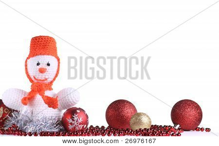Funny Snowman At The White Background