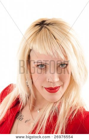 Portrait of a young provocative woman. Isolated on white.