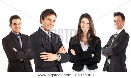 A numerous group of businessmen and businesswomen isolated on white.