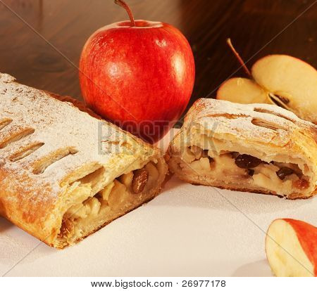 Close-up of a delicious homemade apple strudel.