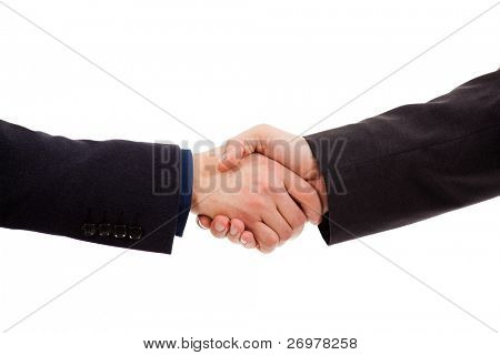 Saludo de manos de dos hombres de negocios aislado en blanco