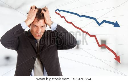 Desperate businessman, financial crisis concept